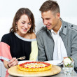 Stock Photo: Couple on date in restaurant man and woman
