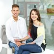 Couple on date in restaurant man and woman — Stockfoto #16345325