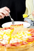 Pie with strawberrys on the table — Stock Photo