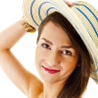 Beautiful woman on white background with long hair and hat look - Stok fotoğraf