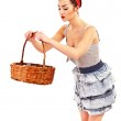 Woman in Pin-up style on white background with basket — Stock Photo