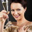 Stock Photo: Womwith champagne flute