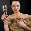 Woman with champagne flute - Stockfoto