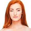 Attractive woman caucasian whose face is marked with lines — Stock Photo