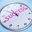 Stock Photo: Wall clock with word success