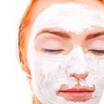 Beauty women getting facial mask — Stock Photo #26844251