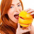 Picture of lovely woman with fruit  — Stock Photo
