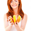 Portrait of pretty woman with grapefruit — Stock Photo