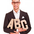 Business man writing coaching concept abc bussiness — Stock Photo
