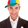 Businessman in funny hat — Stock Photo