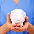 Doctor Holding Piggy Bank Abstract — Stock Photo