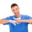 Young doctor with mask and rubber glove — Stock Photo