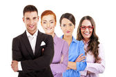 Leader and team, Young attractive business people — Stock Photo