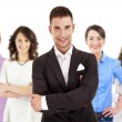 Successful businessman leading a group — Stock Photo