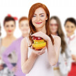 Group of woman with fruit — Stock Photo