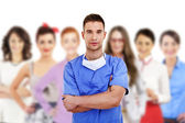 Hospital staff represented by both the medical profession in the — Stock Photo