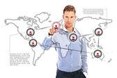 Rede social desenho homem de negócios ou ligação de negócios com — Fotografia Stock