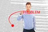 Business man writing problem — Stock Photo