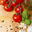 Food ingredients on the oak table closeup shot — Stock Photo