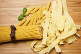 Close up on assortment of uncooked pasta — Stock Photo