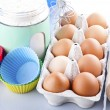 Flour, eggs and sugar — Stock Photo