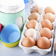 Stock Photo: Flour, eggs and sugar