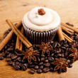 Chocolate cupcake on old wooden table — Stock Photo #41749317