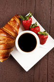 Cafe and croissant — Stock Photo