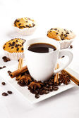 Hot coffee and muffin — Stock Photo