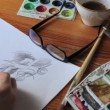 Stock Video: Pencil drawing