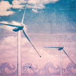 Wind turbines, blue sky - renewable energy, illustration - Stock Photo
