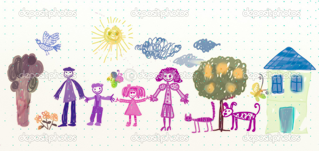 Drawing of family with cat and dog  Foto de Stock   #12772866