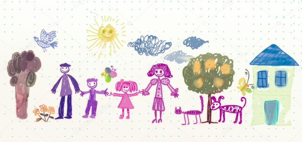 Drawing of family with cat and dog — Photo #12772866
