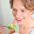 Vegetarian - woman eating salad — Stock Photo
