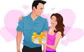 Couple in love. Girl gives a gift to man — Stock Vector