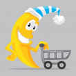 Cartoon moon with shopping cart — Stock Vector