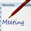 Meeting note in the agenda — Stockfoto