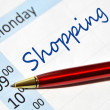 Shopping note in the agenda — Stock Photo