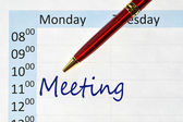 Meeting note in the agenda — Stock Photo