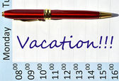 Vacation note in the agenda — Stock Photo