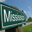 Mississippi signpost along a rural road - Stock Photo