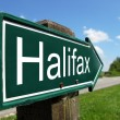 Halifax signpost along a rural road — Stock Photo