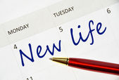 New life note in the agenda — Stock Photo