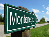 Montenegro signpost along a rural road — Stock Photo