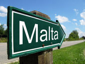 Malta signpost along a rural road — Stock Photo