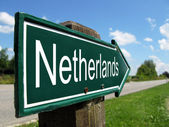 Netherlands signpost along a rural road — Stock Photo