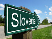 Slovenia signpost along a rural road — Stock Photo