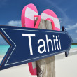 Stock Photo: Tahiti sign on beach