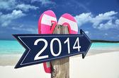 2014 sign on the beach — Stock Photo