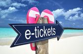 E-TICKETS sign on the beach — Zdjęcie stockowe